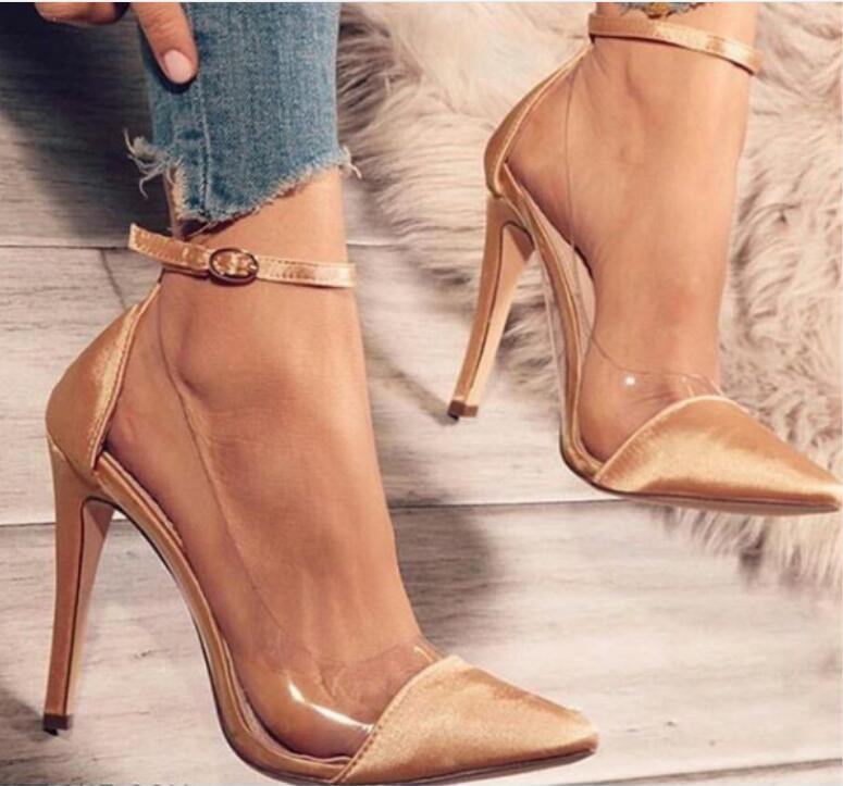 ... zapatos mujer thin high heels ankle buckle women pump ladies wedding  shoes woman sapato jelly clear ... 665828b9a861