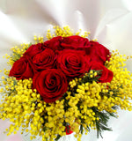 24 Rose Rosse con Mimosa