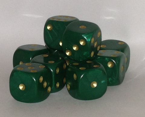 10 x 16mm green pearl