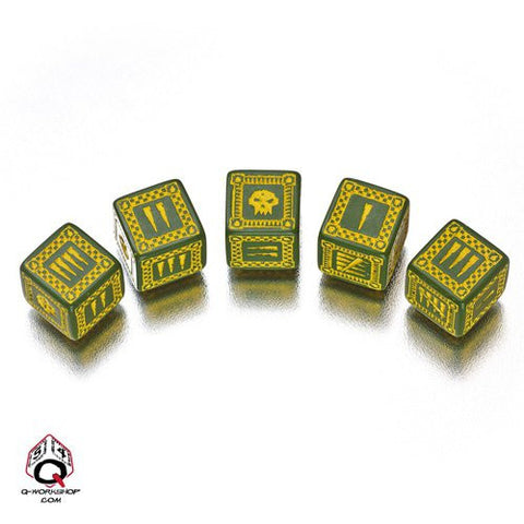 Green & Yellow D6' Ork Dice (5)