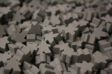 10 x Grey Standard Meeples (16mm)