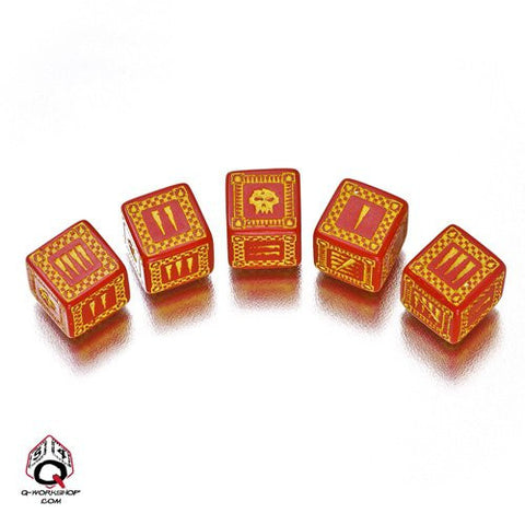 Red & Yellow D6' Ork Dice (5)