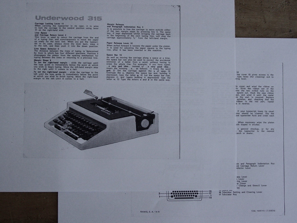 Typewriter, Underwood 315