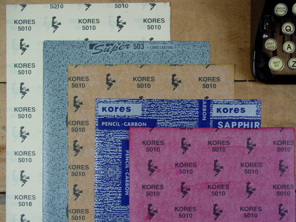 Set of 5 Coloured Vintage Kores Carbon Papers