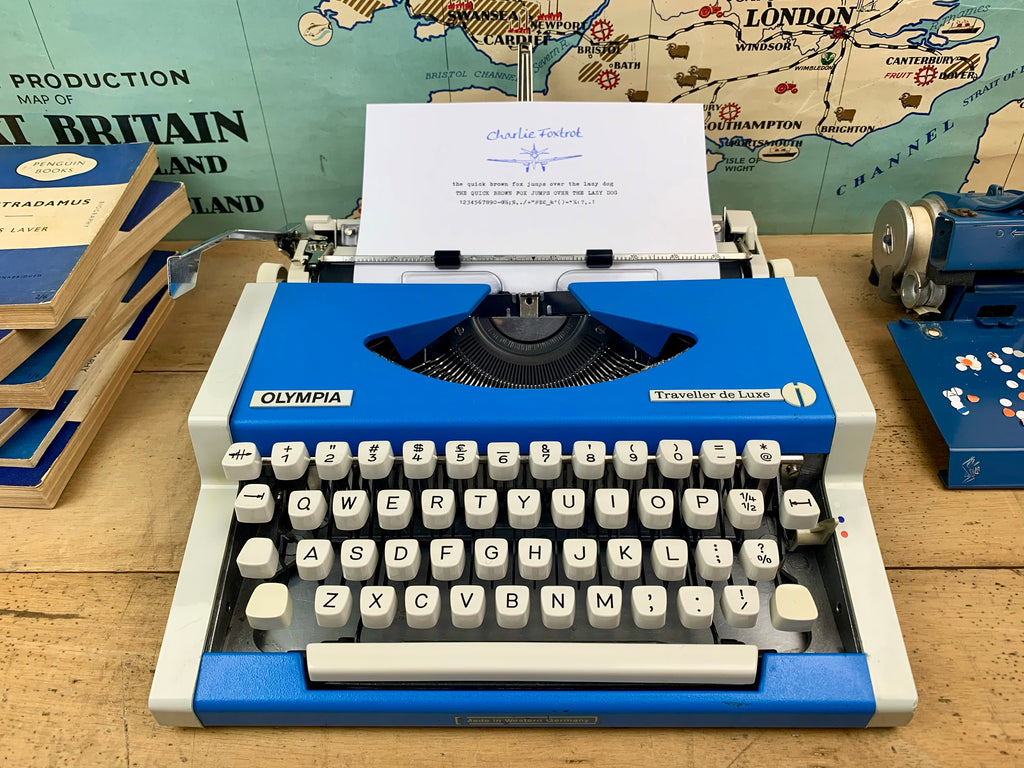 Blue Olympia Traveller de Luxe Typewriter from Charlie Foxtrot Typewriters