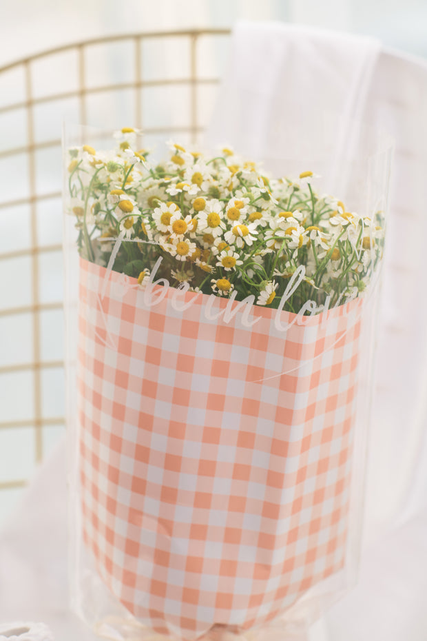 Round Matricaria Chamomile - Gingham Orange