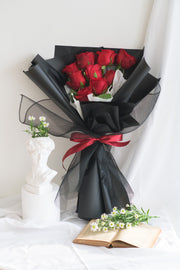 Classy Red Rose Fresh Bouquet