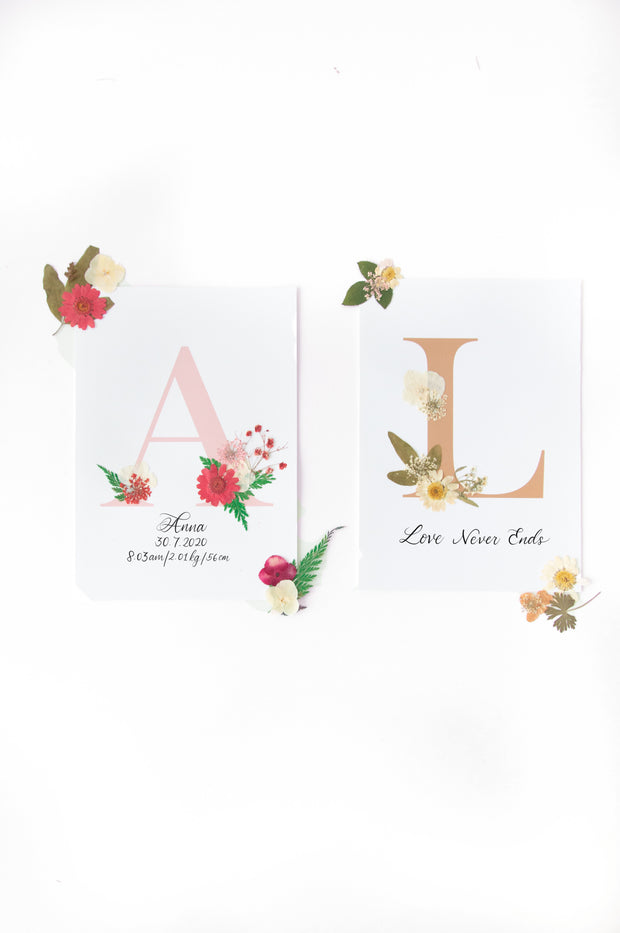 Floral Alphabet - Rosy Pink