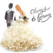 Artprint with Preserved Flowers-Backview Couple-Cream White-Classic Square ( 25 x 25 cm )-Completed Piece-Love Limzy Co.