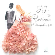 Artprint with Preserved Flowers-Backview Couple-Peach Pink-Classic Square ( 25 x 25 cm )-Completed Piece-Love Limzy Co.