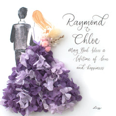 Artprint with Preserved Flowers-Backview Couple-Royal Purple-Classic Square ( 25 x 25 cm )-Completed Piece-Love Limzy Co.