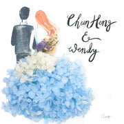 Artprint with Preserved Flowers-Backview Couple-Sea Blue-Classic Square ( 25 x 25 cm )-Completed Piece-Love Limzy Co.