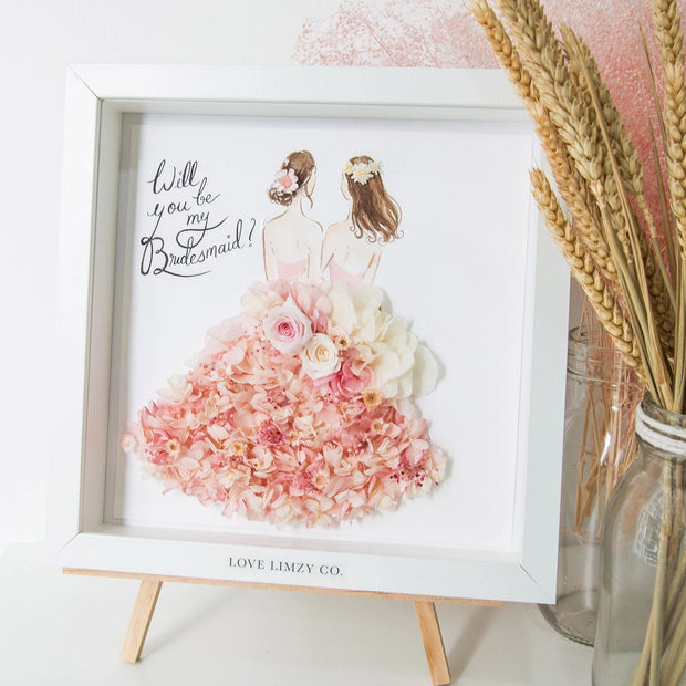 Artprint with Preserved Flowers-Bride & Bridesmaid-Love Limzy Co.