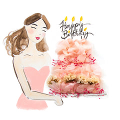 Artprint with Preserved Flowers-Cheerful Birthday Girl-Classic Square ( 25 x 25 cm )-Completed Piece-Love Limzy Co.