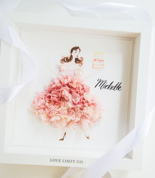 Artprint with Preserved Flowers-Dancing Birthday Girl-Love Limzy Co.