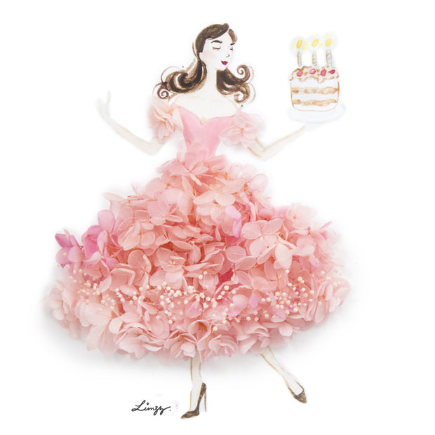 Artprint with Preserved Flowers-Dancing Birthday Girl-Peach Pink-Classic Square ( 25 x 25 cm )-Completed Piece-Love Limzy Co.