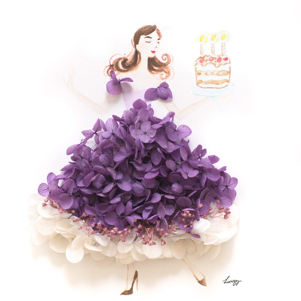 Artprint with Preserved Flowers-Dancing Birthday Girl-Royal Purple-Classic Square ( 25 x 25 cm )-Completed Piece-Love Limzy Co.