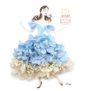 Artprint with Preserved Flowers-Dancing Birthday Girl-Sea Blue-Classic Square ( 25 x 25 cm )-Completed Piece-Love Limzy Co.