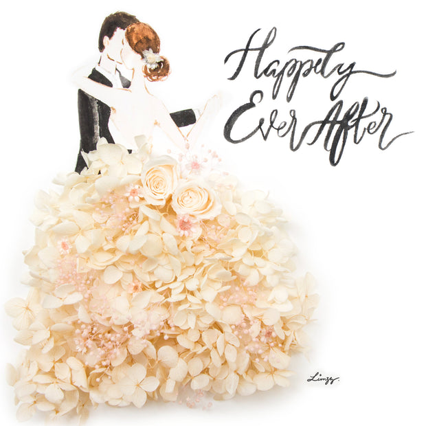 Artprint with Preserved Flowers-Dancing Couple-Cream White-Classic Square ( 25 x 25 cm )-Completed Piece-Love Limzy Co.