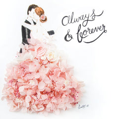 Artprint with Preserved Flowers-Dancing Couple-Peach Pink-Classic Square ( 25 x 25 cm )-Completed Piece-Love Limzy Co.