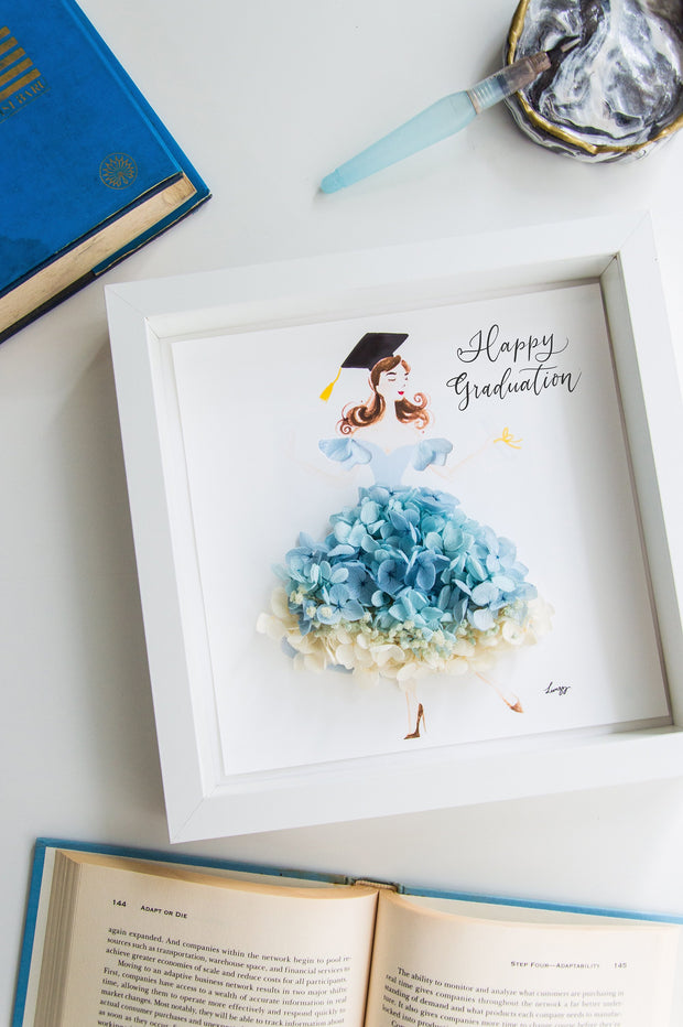 Artprint with Preserved Flowers-Dancing Graduation Girl-Love Limzy Co.