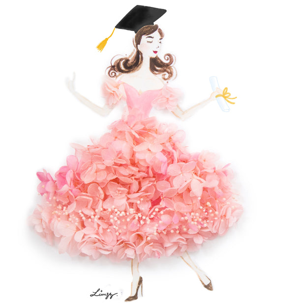 Artprint with Preserved Flowers-Dancing Graduation Girl-Peach Pink-Classic Square ( 25 x 25 cm )-Completed Piece-Love Limzy Co.