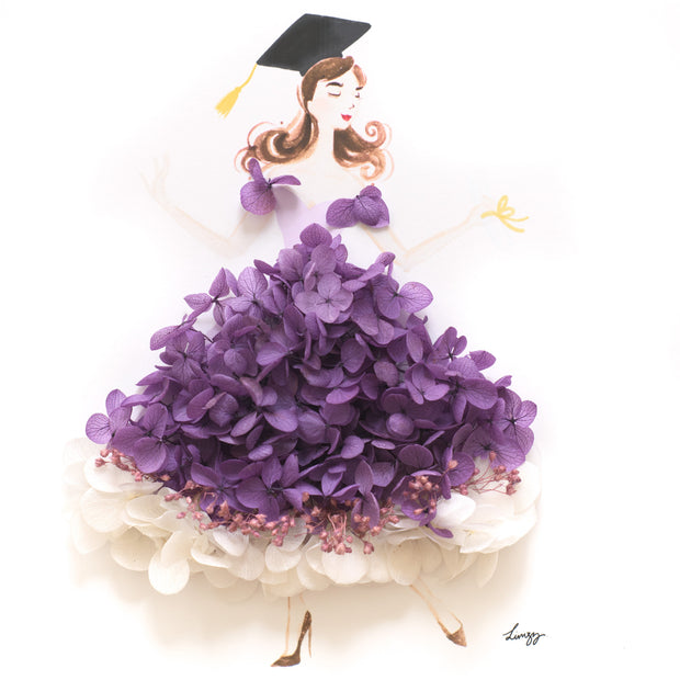 Artprint with Preserved Flowers-Dancing Graduation Girl-Royal Purple-Classic Square ( 25 x 25 cm )-Completed Piece-Love Limzy Co.