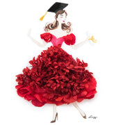 Artprint with Preserved Flowers-Dancing Graduation Girl-Russian Red-Classic Square ( 25 x 25 cm )-Completed Piece-Love Limzy Co.