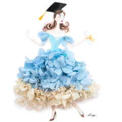 Artprint with Preserved Flowers-Dancing Graduation Girl-Sea Blue-Classic Square ( 25 x 25 cm )-Completed Piece-Love Limzy Co.
