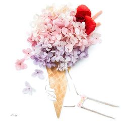 Artprint with Preserved Flowers-Don't Worry Eat Ice Cream-Berries Pink-Classic Square ( 25 x 25 cm )-Completed Piece-Love Limzy Co.
