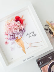 Artprint with Preserved Flowers-Don't Worry Eat Ice Cream-Love Limzy Co.