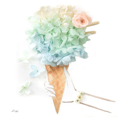 Artprint with Preserved Flowers-Don't Worry Eat Ice Cream-Mint Turquoise-Classic Square ( 25 x 25 cm )-Completed Piece-Love Limzy Co.