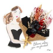 Artprint with Preserved Flowers-Floral Bouquet Girl-Ebony Black-Classic Square ( 25 x 25 cm )-Love Limzy Co.