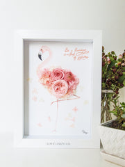 Artprint with Preserved Flowers-Floral Flamingo-Love Limzy Co.