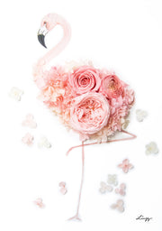 Artprint with Preserved Flowers-Floral Flamingo-Petite A5 ( 18 x 24 cm )-Completed Piece-Love Limzy Co.