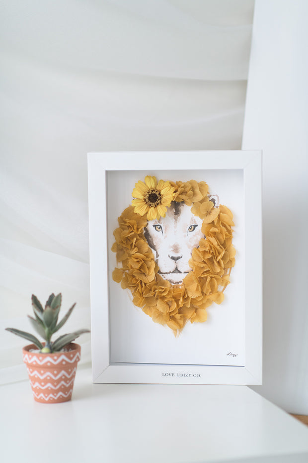 Artprint with Preserved Flowers-Floral Lion-Love Limzy Co.