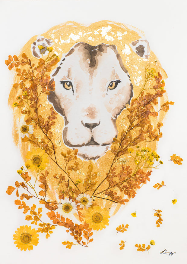 Artprint with Preserved Flowers-Floral Lion-Preserved Flower-Regular A4 ( 25 x 34 cm)-Love Limzy Co.