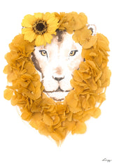 Artprint with Preserved Flowers-Floral Lion-Pressed Flower-Regular A4 ( 25 x 34 cm)-Love Limzy Co.