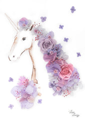 Artprint with Preserved Flowers-Floral Unicorn-Dusty Lavender-Petite A5 ( 18 x 24 cm )-Completed Piece-Love Limzy Co.