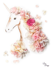 Artprint with Preserved Flowers-Floral Unicorn-Peach Pink-Petite A5 ( 18 x 24 cm )-Completed Piece-Love Limzy Co.