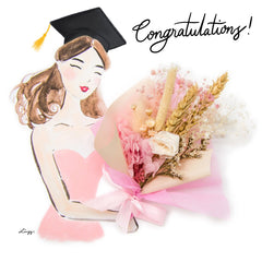 Artprint with Preserved Flowers-Graduation Bouquet Girl-Peach Pink-Love Limzy Co.
