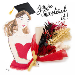Artprint with Preserved Flowers-Graduation Bouquet Girl-Russian Red-Love Limzy Co.