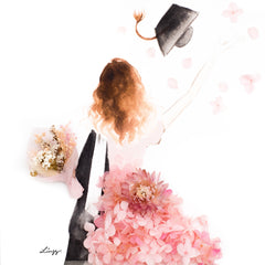 Artprint with Preserved Flowers-Graduation Girl-Peach Pink-Classic Square ( 25 x 25 cm )-Completed Piece-Love Limzy Co.