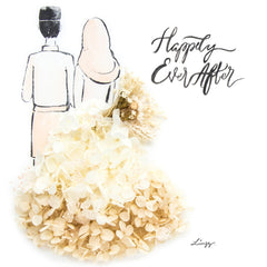 Artprint with Preserved Flowers-Hijab Couple-Cream White-Classic Square ( 25 x 25 cm )-Completed Piece-Love Limzy Co.