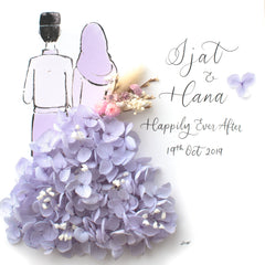 Artprint with Preserved Flowers-Hijab Couple-Dusty Lavender-Classic Square ( 25 x 25 cm )-Completed Piece-Love Limzy Co.