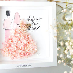 Artprint with Preserved Flowers-Hijab Couple-Love Limzy Co.