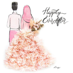 Artprint with Preserved Flowers-Hijab Couple-Peach Pink-Classic Square ( 25 x 25 cm )-Completed Piece-Love Limzy Co.