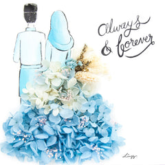 Artprint with Preserved Flowers-Hijab Couple-Sea Blue-Classic Square ( 25 x 25 cm )-Completed Piece-Love Limzy Co.