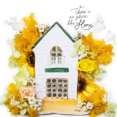 Artprint with Preserved Flowers-Home Sweet Home-Sunshine Yellow-Classic Square ( 25 x 25 cm )-Completed Piece-Love Limzy Co.