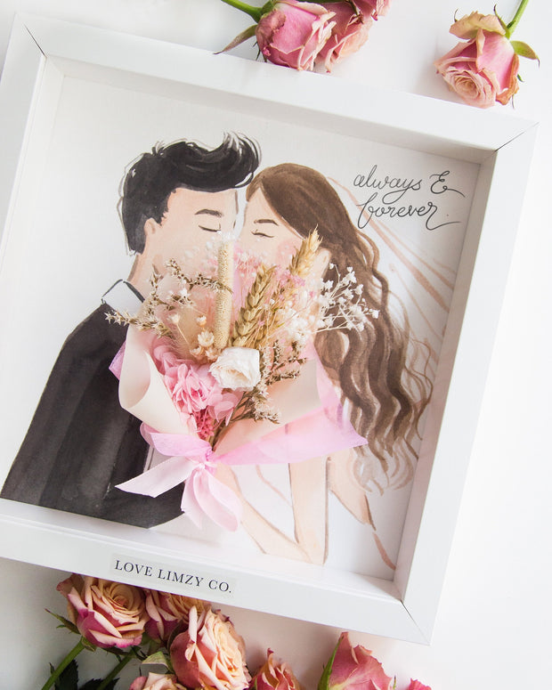 Artprint with Preserved Flowers-Kissing Couple-Love Limzy Co.